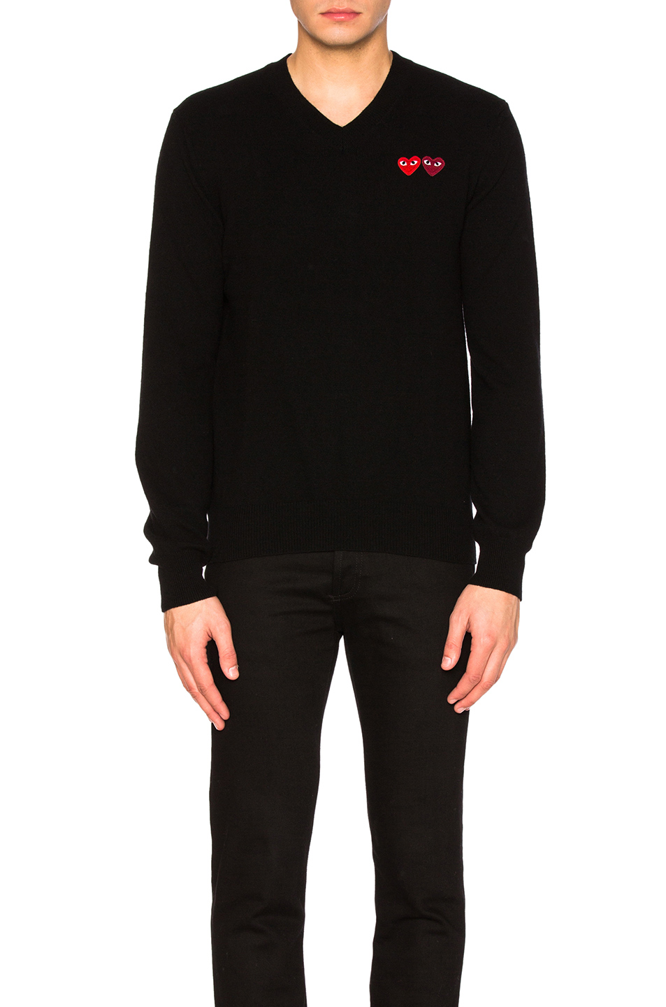 Comme Des Garcons PLAY V Neck Double Emblem Sweater in Black
