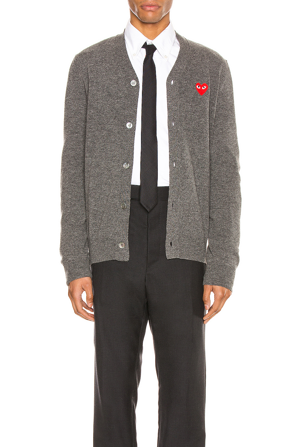 Comme Des Garcons PLAY Lambswool Cardigan with Red Emblem in Gray