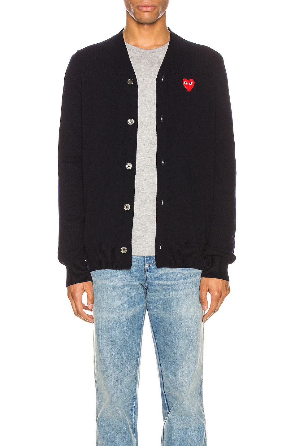 Comme Des Garcons PLAY Lambswool Cardigan with Red Emblem in Blue