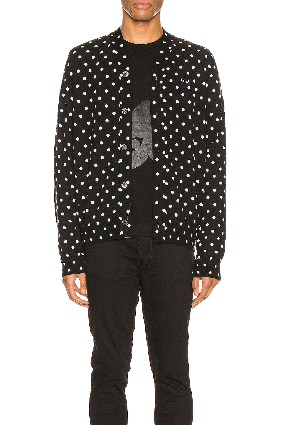 Comme Des Garcons PLAY Dot Print Wool Cardigan with Black Emblem in Black,Geometric Print