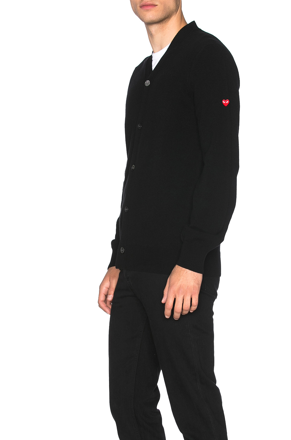 Comme Des Garcons PLAY Lambswool Cardigan with Small Red Emblem Sleeve in Black