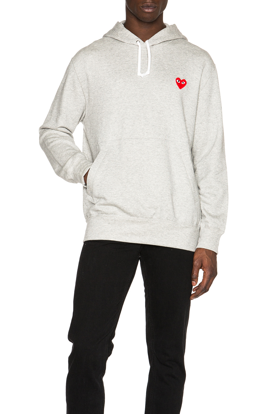 Comme Des Garcons PLAY Red Emblem Cotton Hoodie in Gray