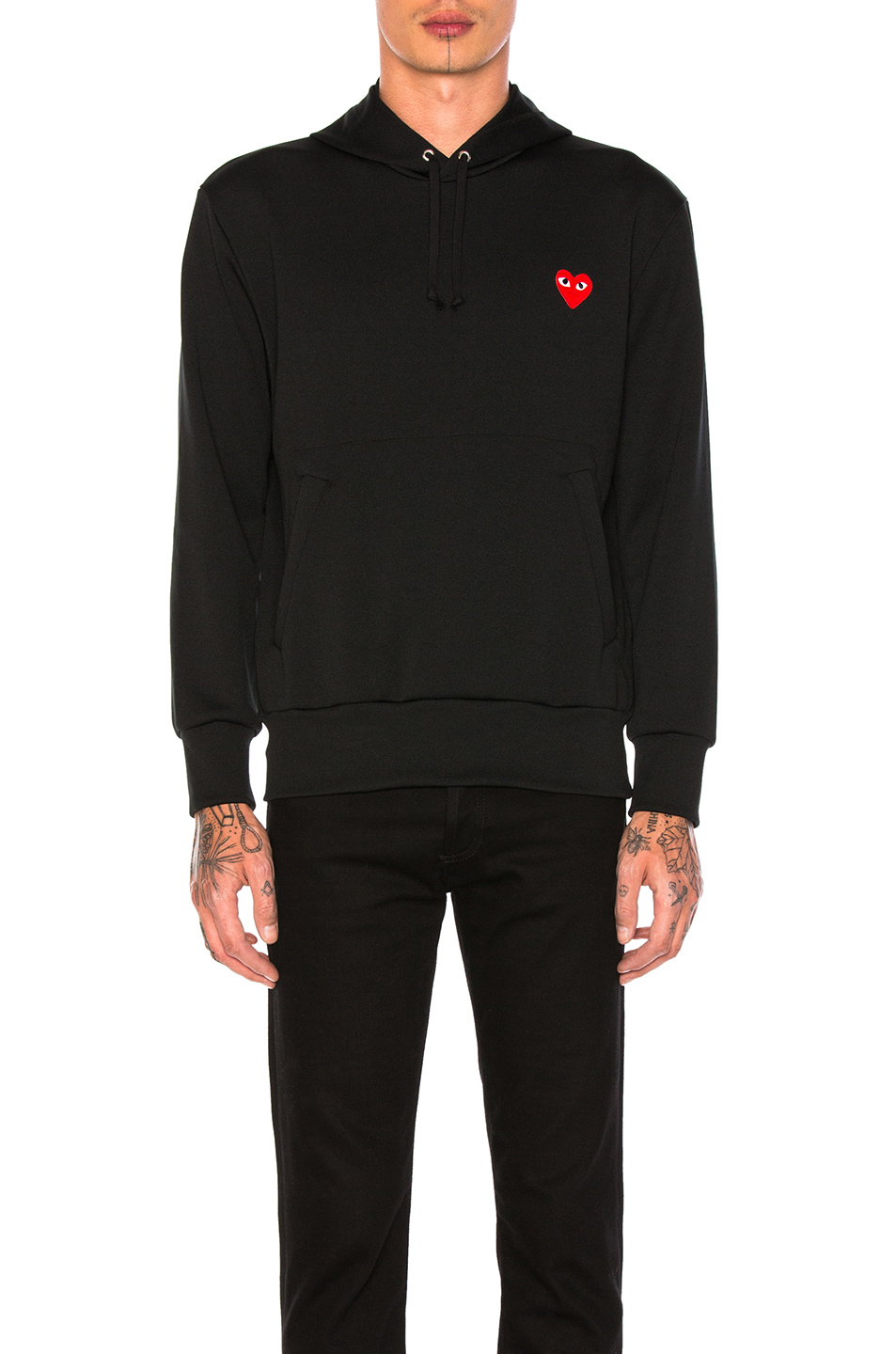 Photo of Comme Des Garcons PLAY Red Emblem Poly Hoodie in Black - shop Comme Des Garcons PLAY menswear