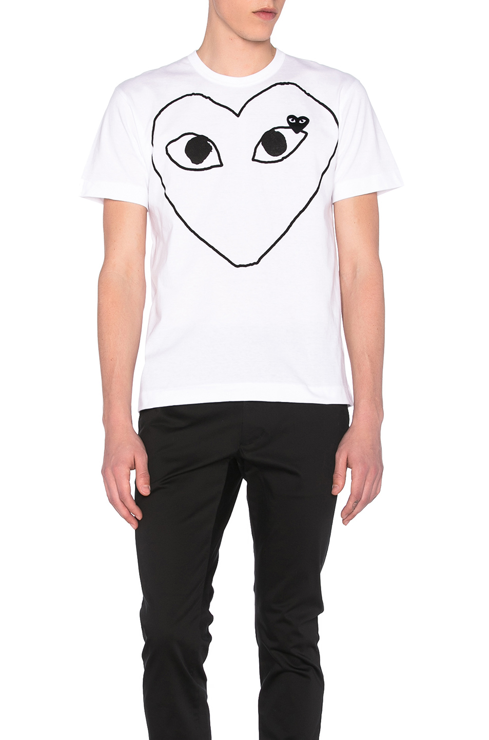 Comme Des Garcons PLAY Black Emblem Cotton Tee in White