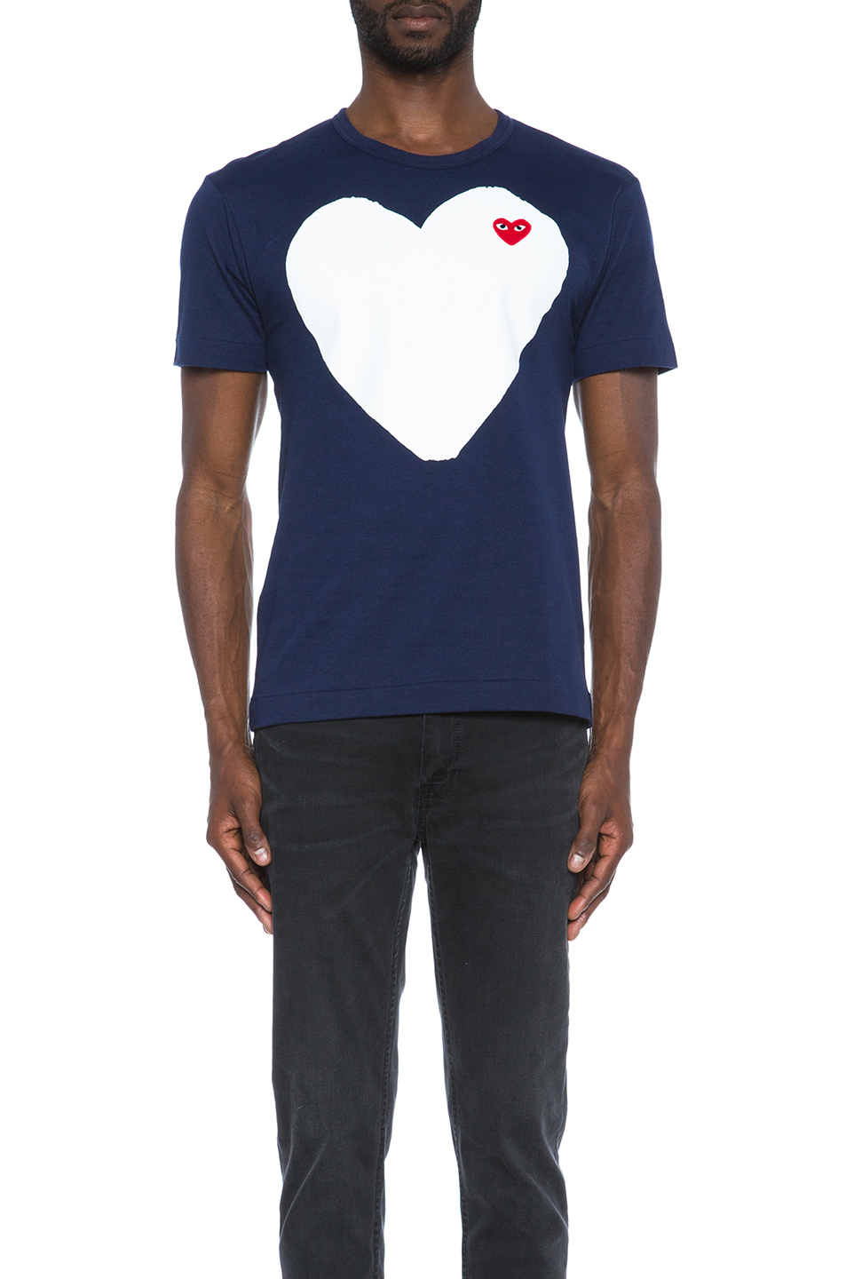 Comme Des Garcons PLAY Red Emblem Cotton Heart Tee in Blue