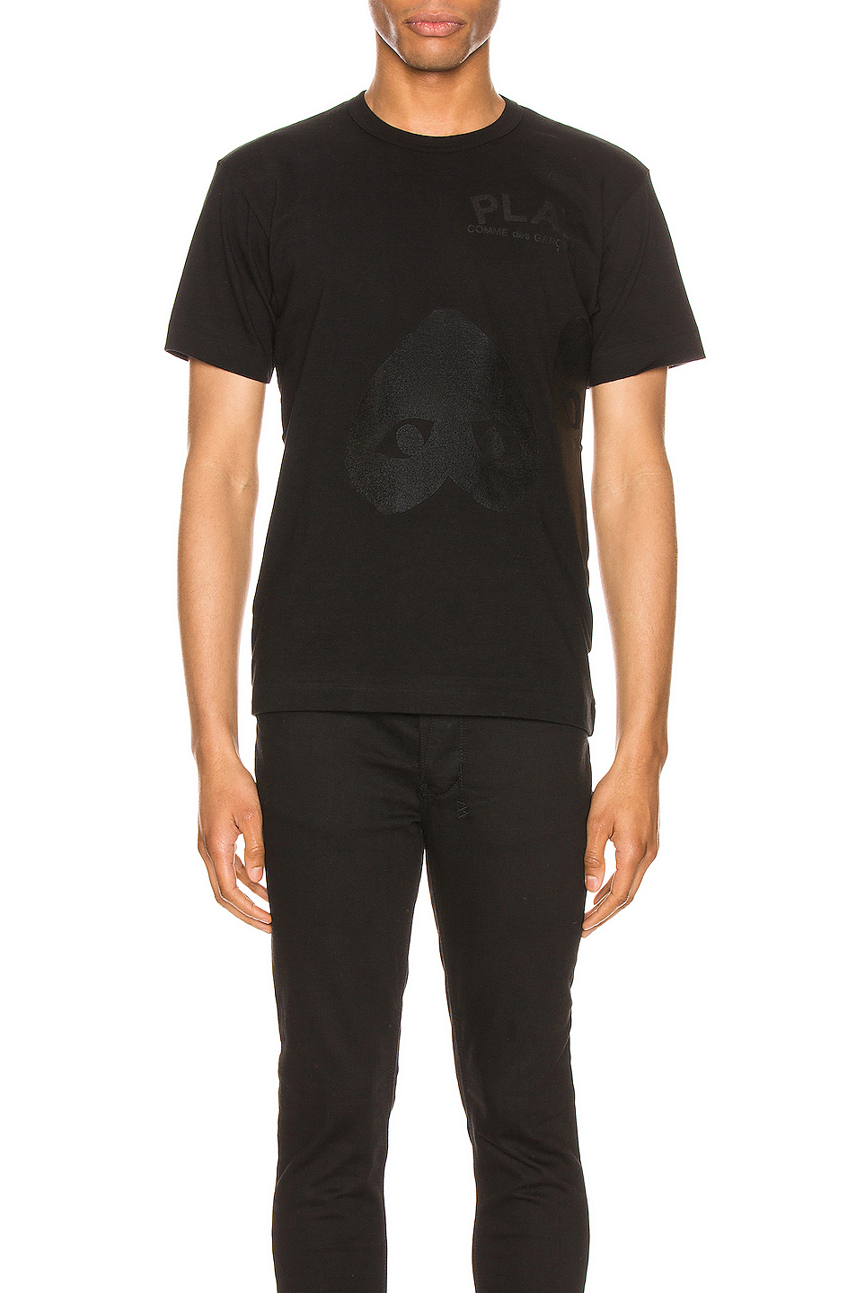Comme Des Garcons PLAY Flipped Heart Cotton Tee in Black