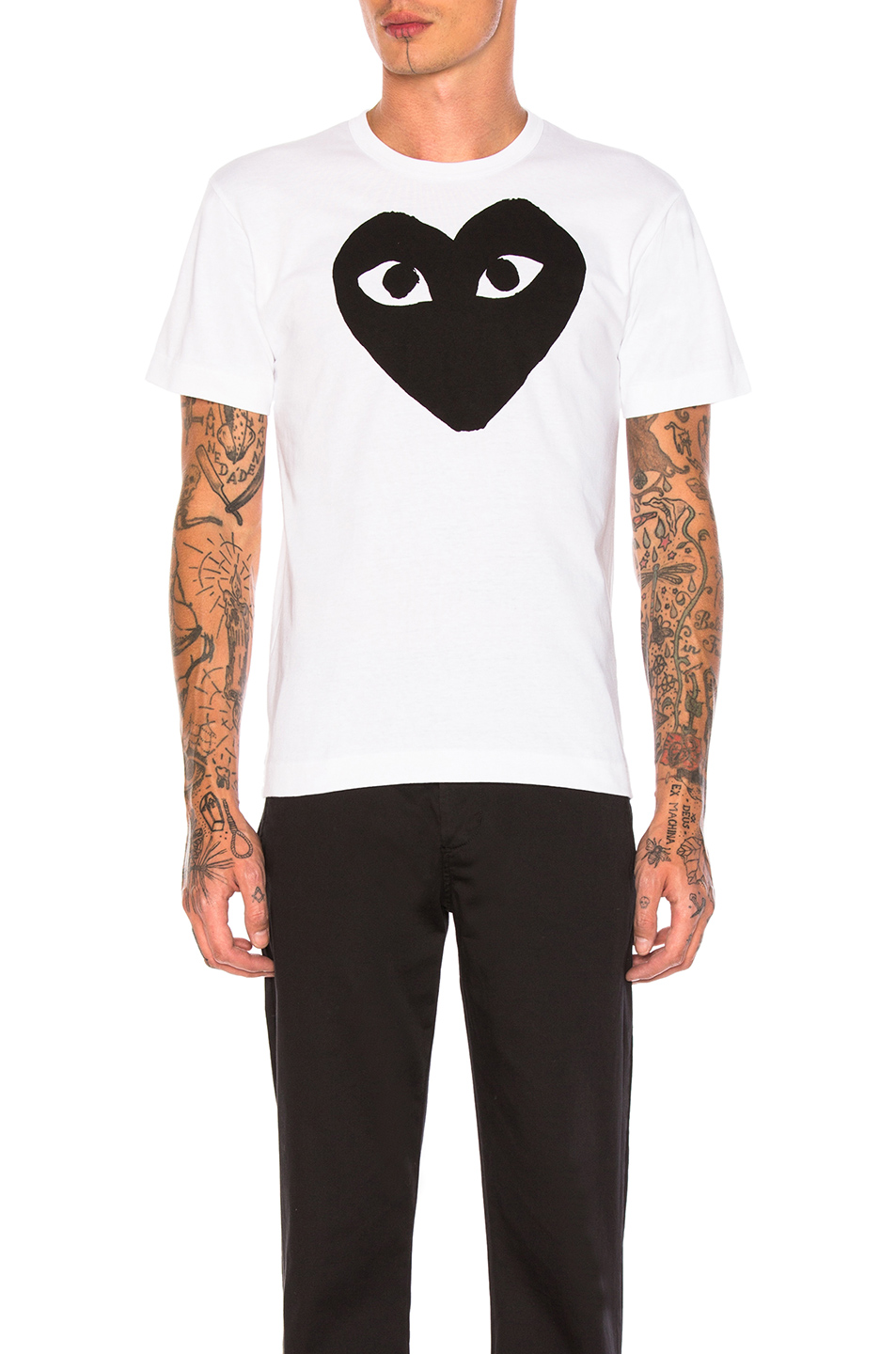 Comme Des Garcons PLAY Emblem Cotton Tee in White