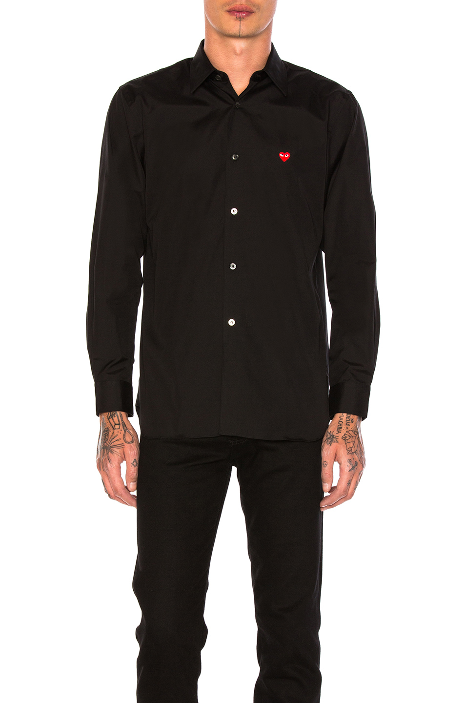 Comme Des Garcons PLAY Small Red Emblem Cotton Button Down in Black