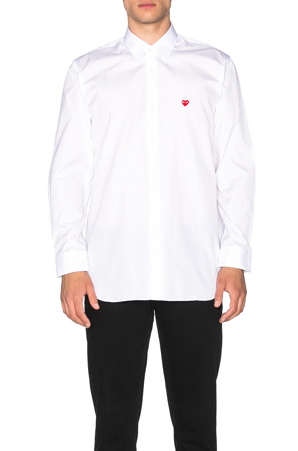Comme Des Garcons PLAY Small Red Emblem Cotton Button Down in White