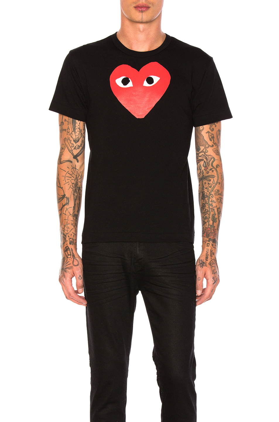 Comme Des Garcons PLAY Printed Red Heart Cotton Tee in Black