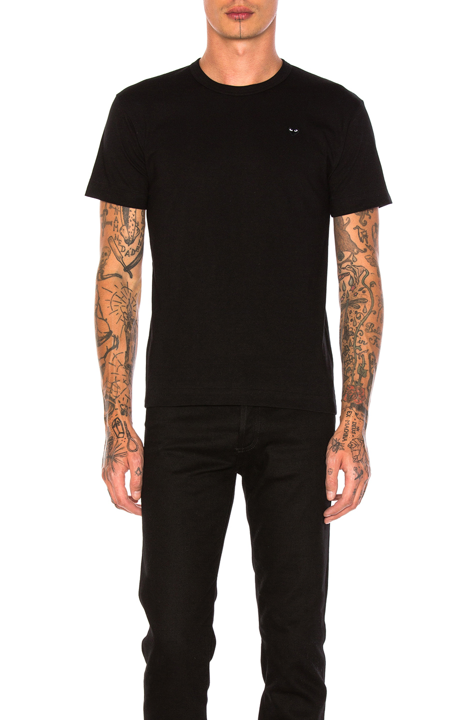 Comme Des Garcons PLAY Small Black Emblem Cotton Tee in Black