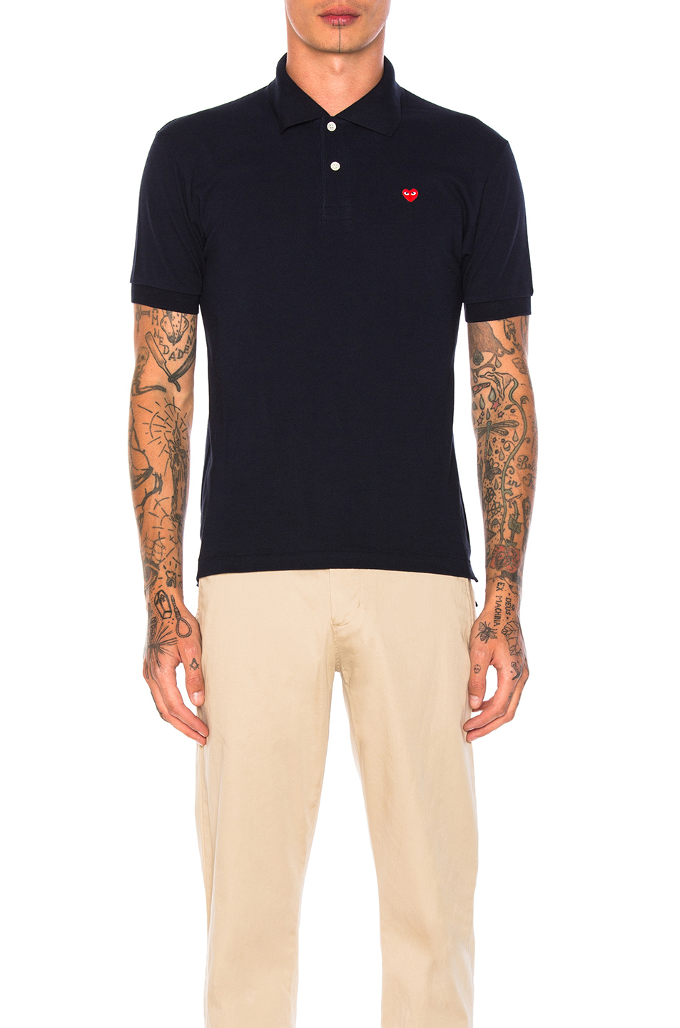 Comme Des Garcons PLAY Small Red Emblem Cotton Polo in Blue