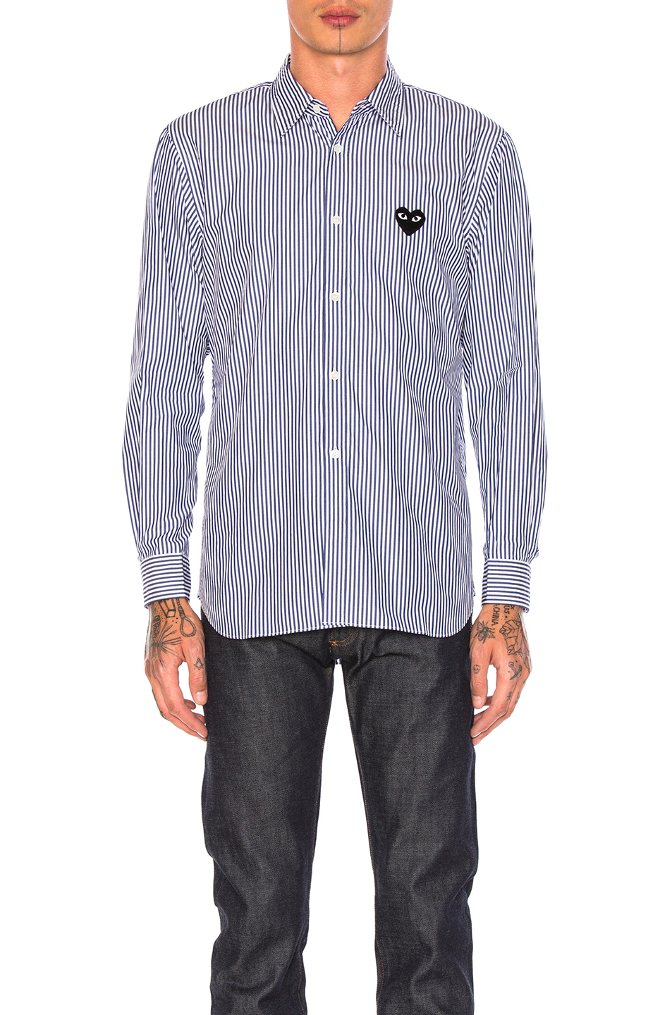 Comme Des Garcons PLAY Broad Stripe Cotton Button Down in Blue,Stripes