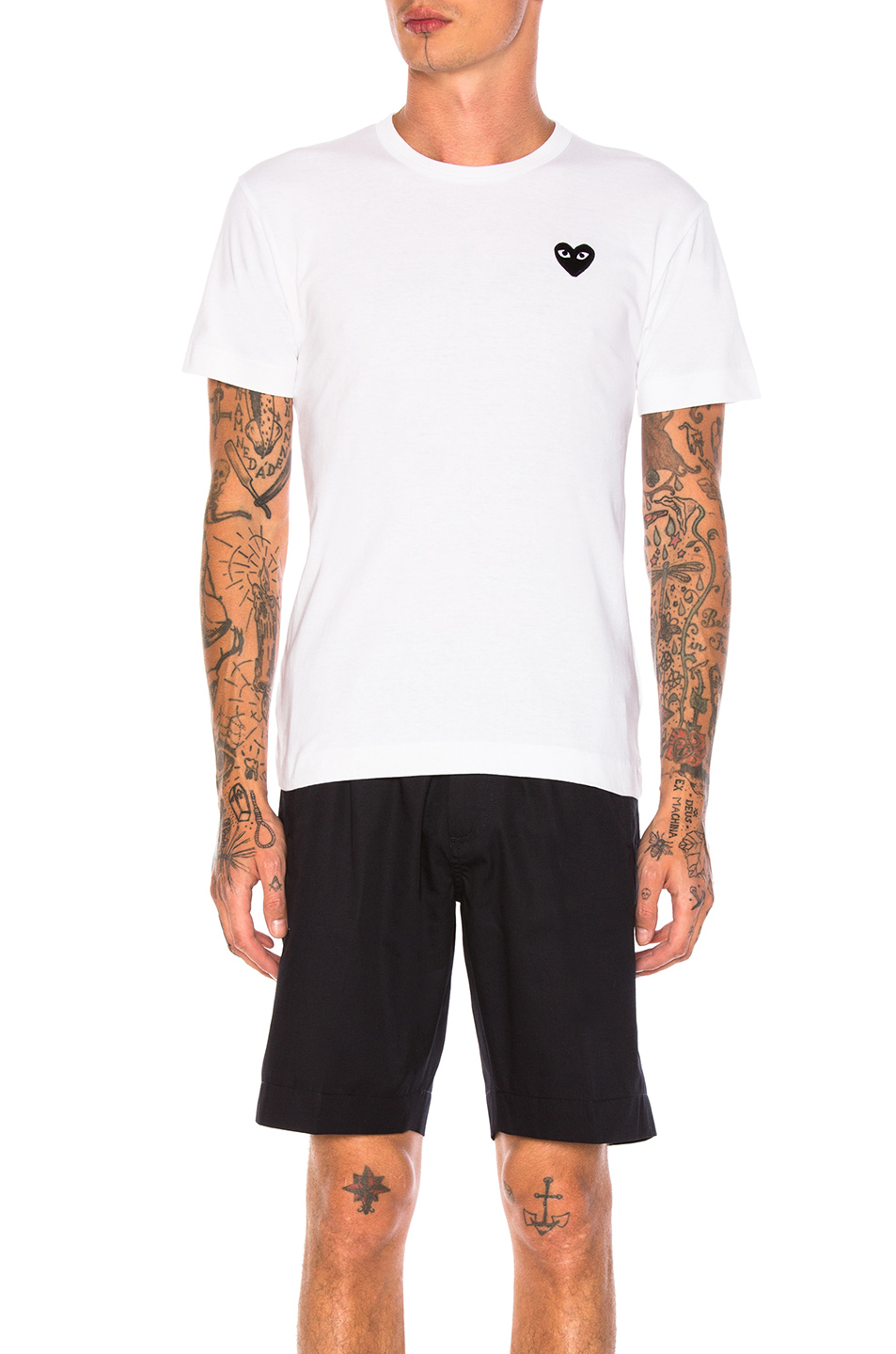 Comme Des Garcons PLAY Cotton Tee with Black Emblem in White