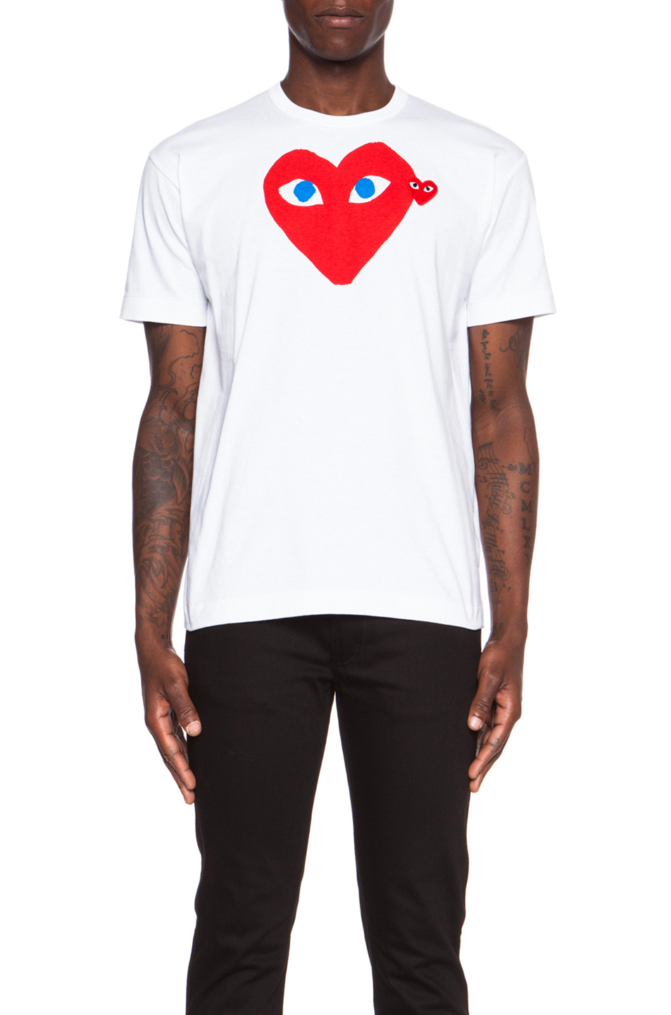 Comme Des Garcons PLAY Red Emblem Cotton Tee in White