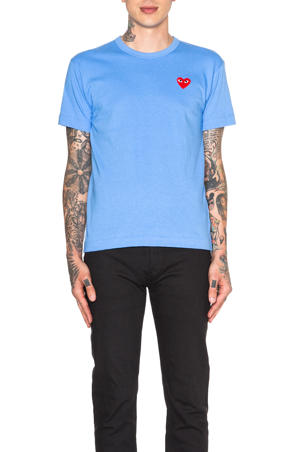 Comme Des Garcons PLAY Red Emblem Cotton Tee in Blue