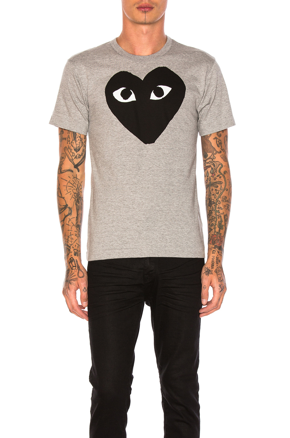 Comme Des Garcons PLAY Emblem Cotton Tee in Gray
