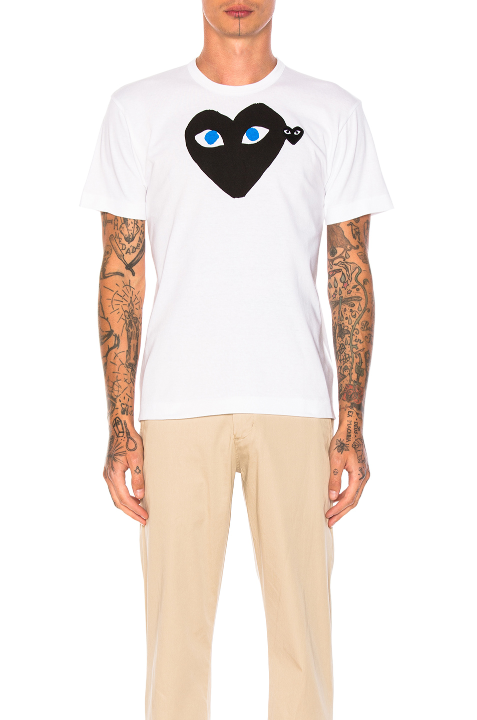 Comme Des Garcons PLAY Blue Eyes Black Emblem Cotton Tee in White
