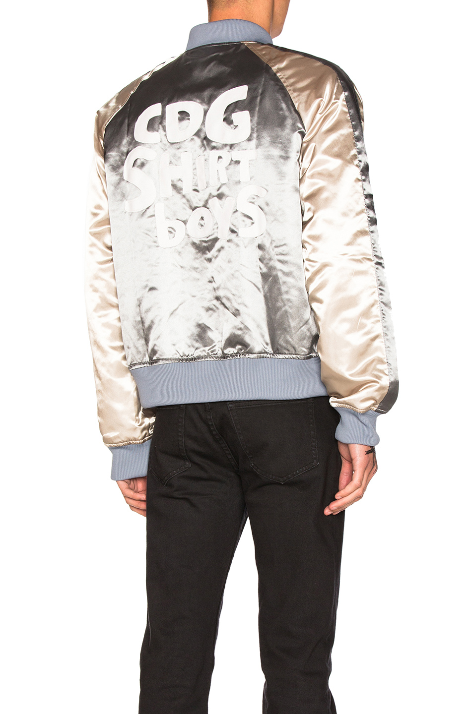 Comme Des Garcons SHIRT Polyester Cloth Quilted Bomber Jacket in Metallics,Gray,Blue