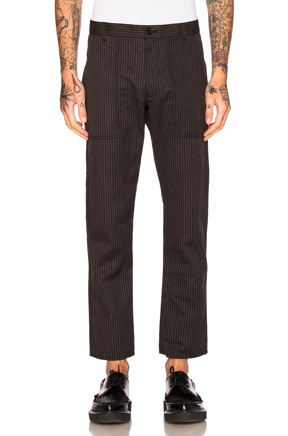 Comme Des Garcons SHIRT Cotton Suiting Pants in Black,Stripes