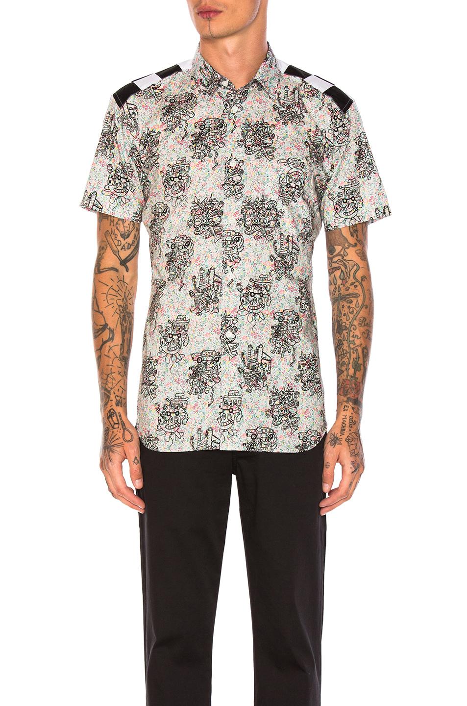 Comme Des Garcons SHIRT Cotton Lawn Flower Print Shirt in Floral,Blue,Abstract