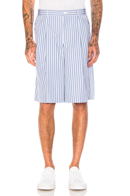 Comme Des Garcons Homme Plus Cotton Broad Stripe Shorts in Blue,Stripes
