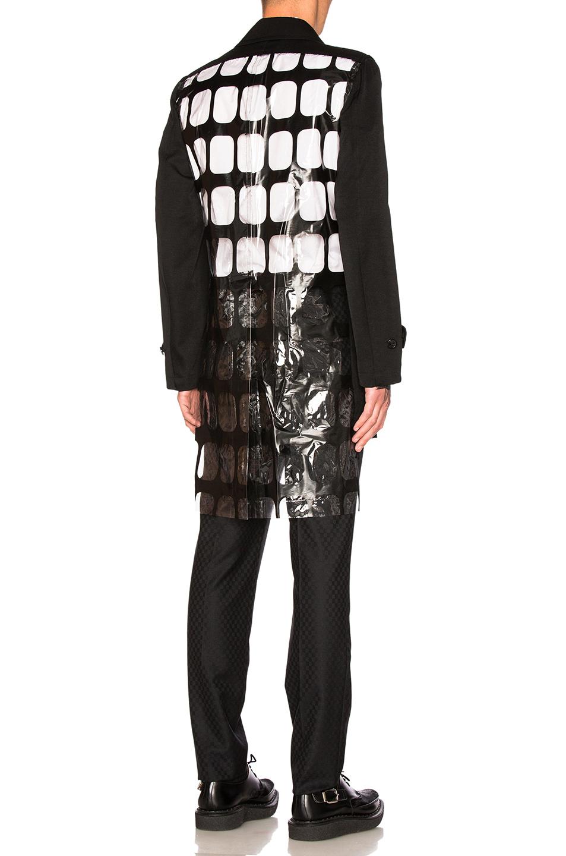 Comme Des Garcons Homme Plus PVC Urethane Pigment Print & Wool Gabardine Coat in Black