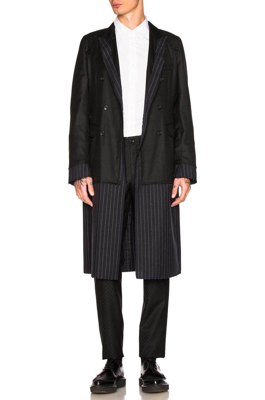Comme Des Garcons Homme Plus Wool & Silk Coat in Black,Blue,Stripes