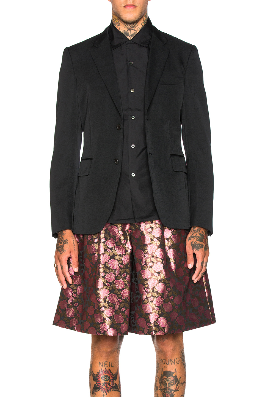 Comme Des Garcons Homme Plus Wool Gabardine Blazer in Black