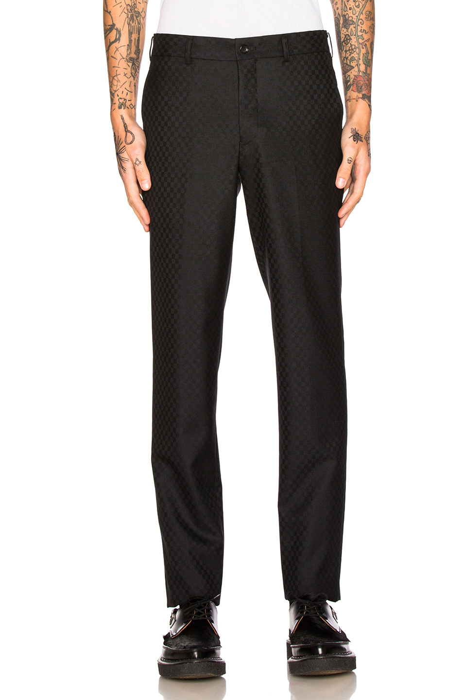 Comme Des Garcons Homme Plus Wool & Silk Trousers in Black,Checkered & Plaid