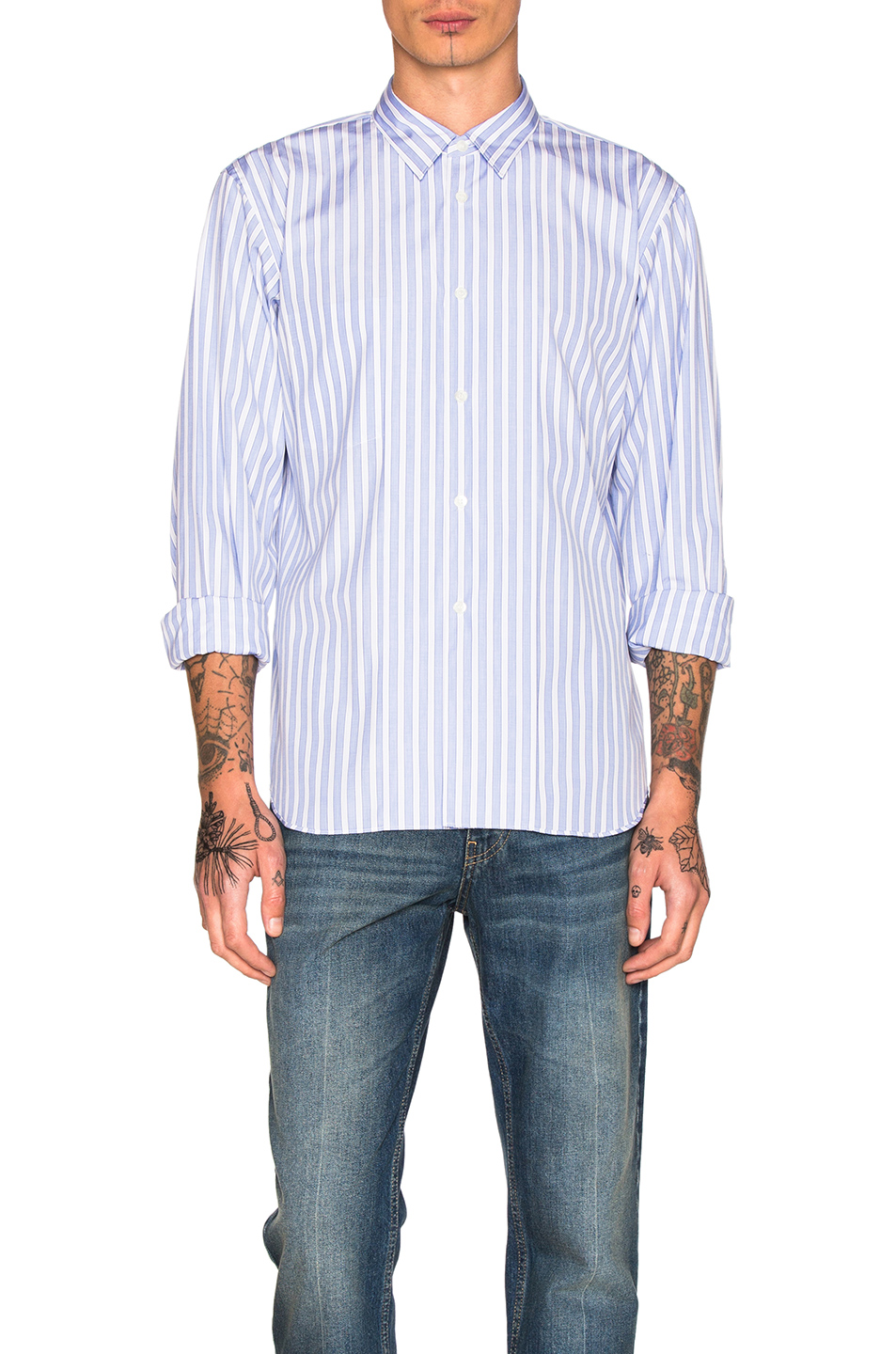 Comme Des Garcons Homme Plus Cotton Broad Stripe Shirt in Blue,Stripes