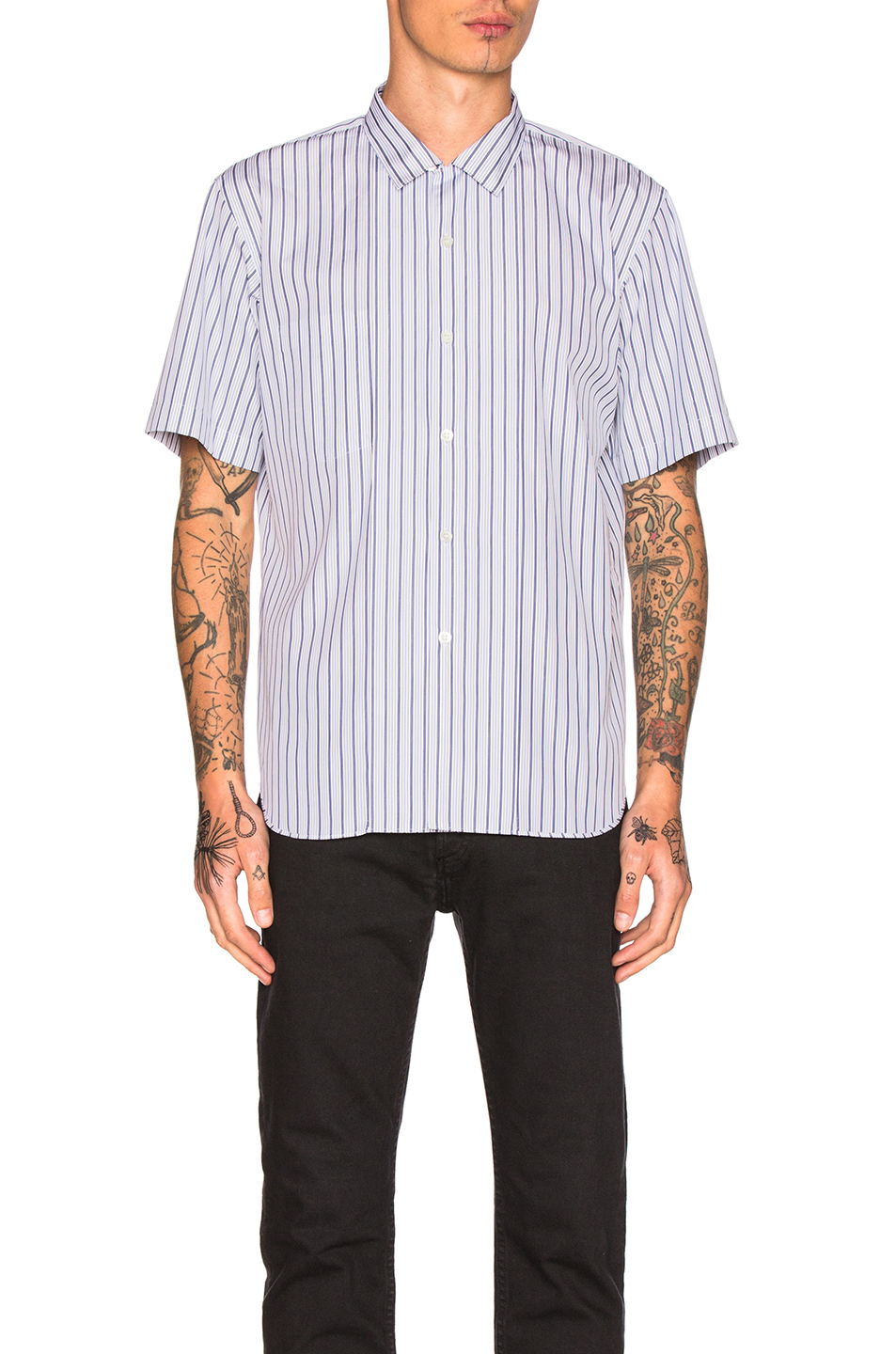 Comme Des Garcons Homme Plus Cotton Broad Stripe Shirt in White,Blue,Stripes