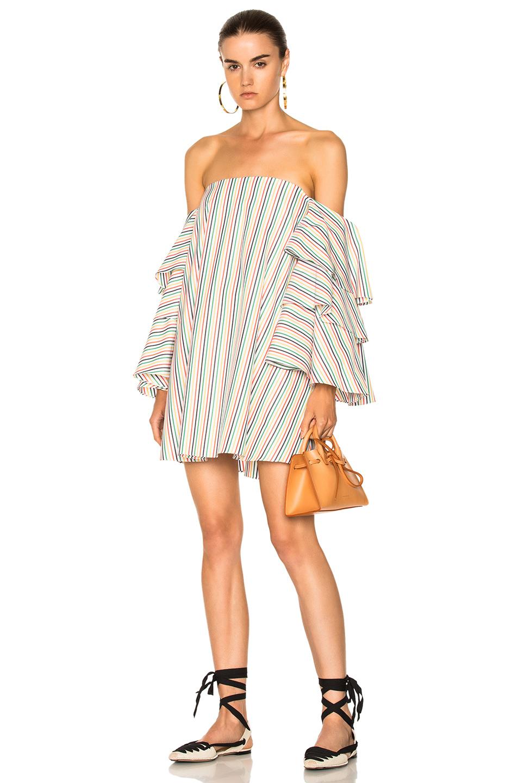 Caroline Constas for FWRD Carmen Dress in Stripes,Green,White