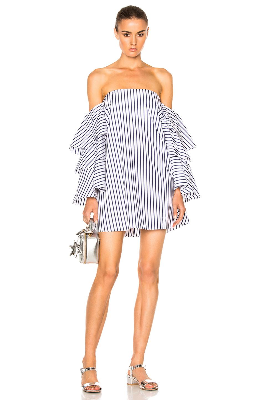 Caroline Constas Carmen Dress in Blue,Stripes