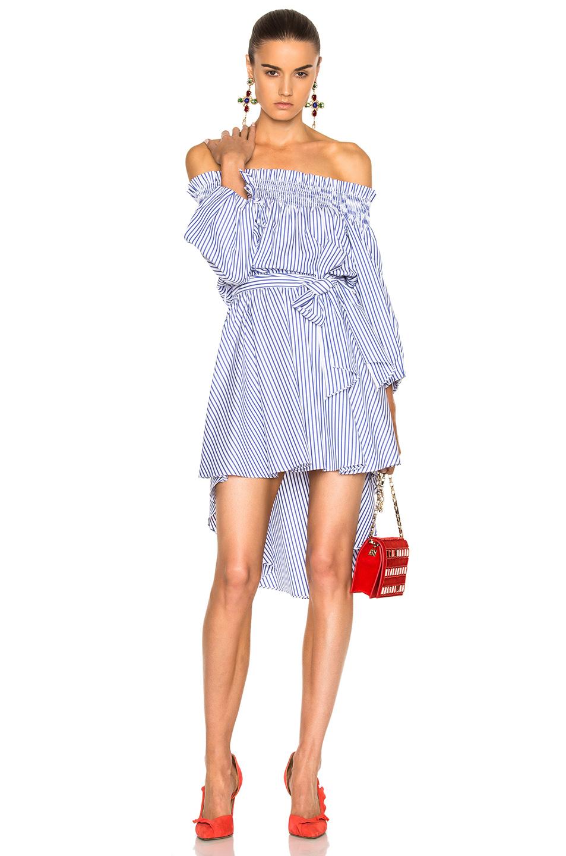 Caroline Constas Lou Dress in Blue,Stripes