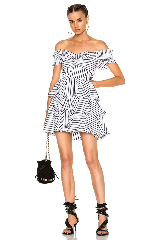 Caroline Constas for FWRD Helena Dress in Stripes,White