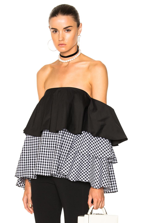 Caroline Constas for FWRD Carmen Top in Black,Checkered & Plaid,White