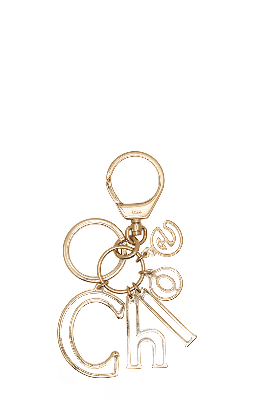 chloe letters plated key ring in gold 1 With chloe letter ring