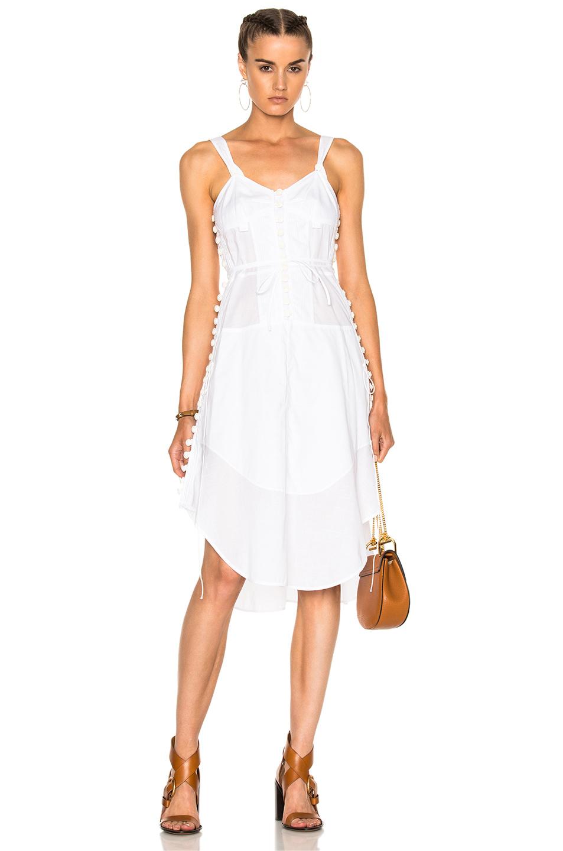 Chloe Light Cotton Voile Button Detail Sleeveless Dress in White