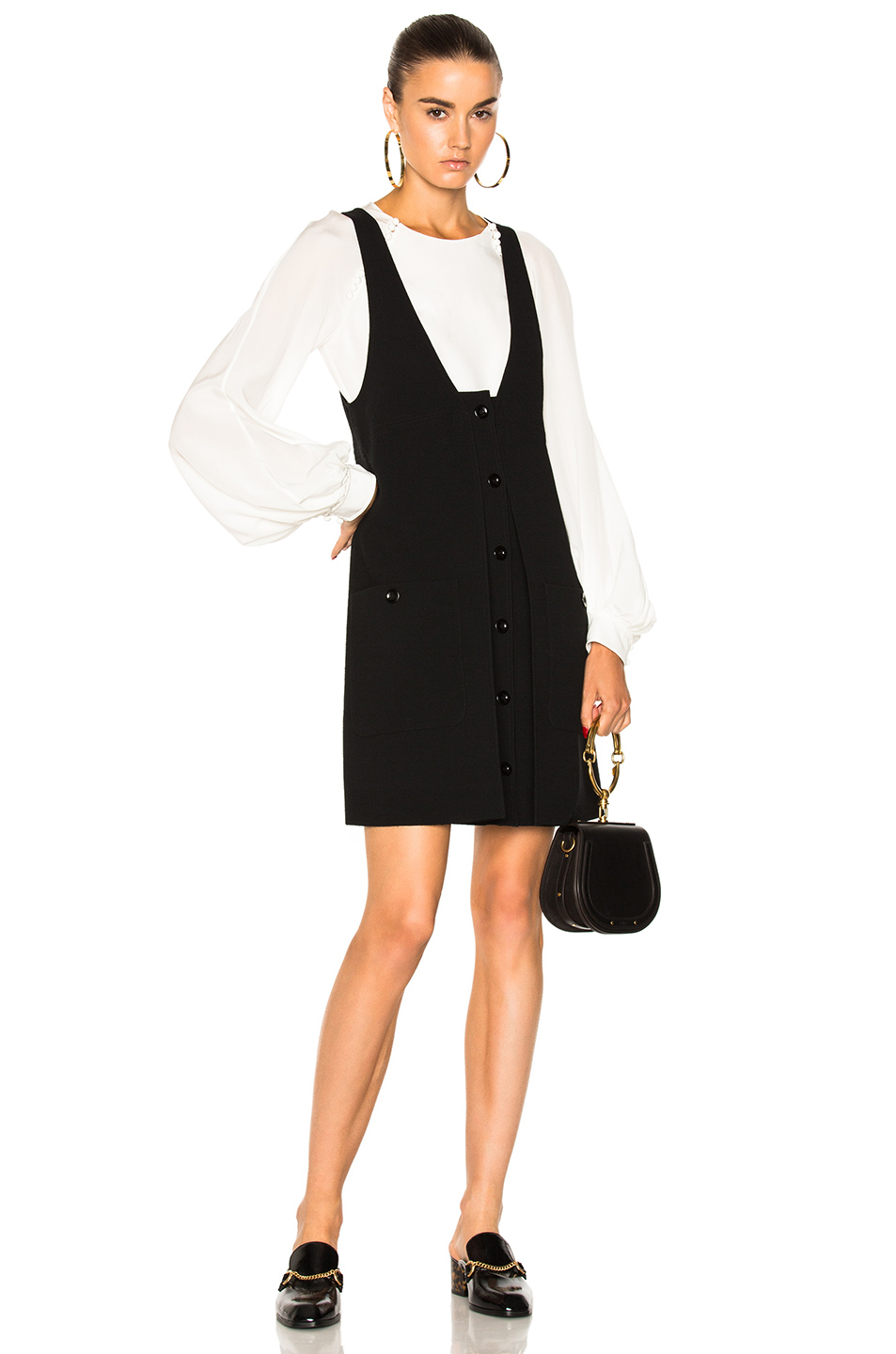 Chloe Wool Crepe Button Front Dress in Black