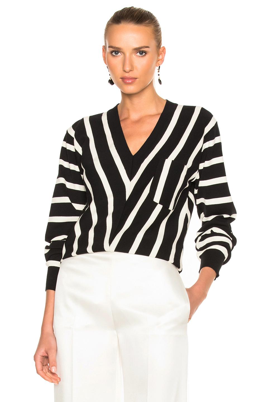 Chloe Sailor Stripe V-Neck Sweater in Black,Stripes,White
