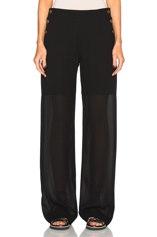 Chloe Fine Sheer Crepe Pants in Black
