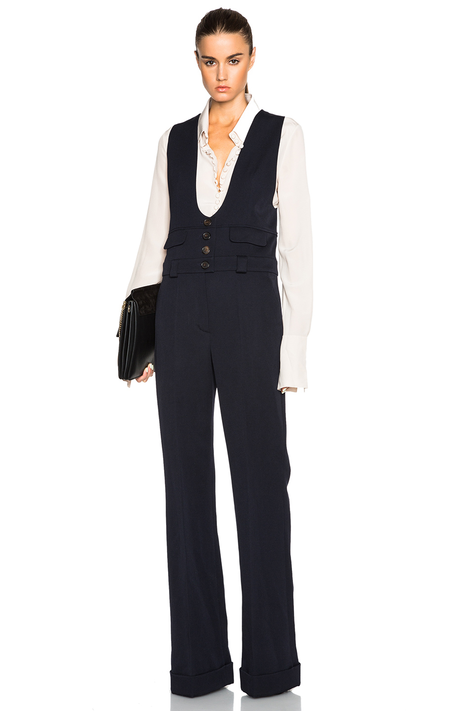 Chloe Wool Twill Tailoring Jumpsuit in Blue