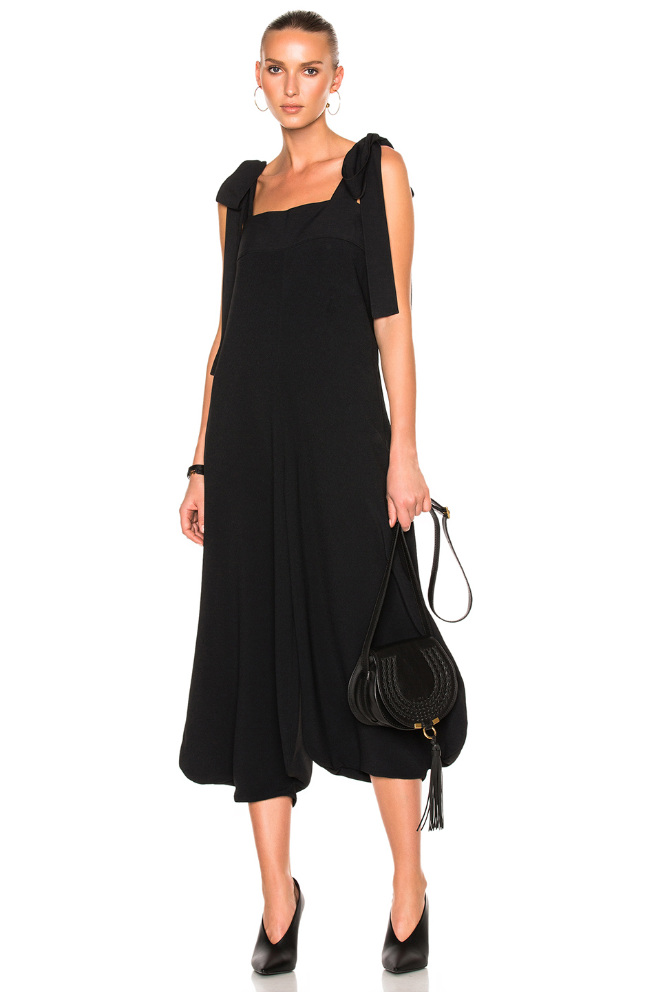 Chloe Crepe Sable Tie Shoulder Wide Leg Jumpsuit in Black