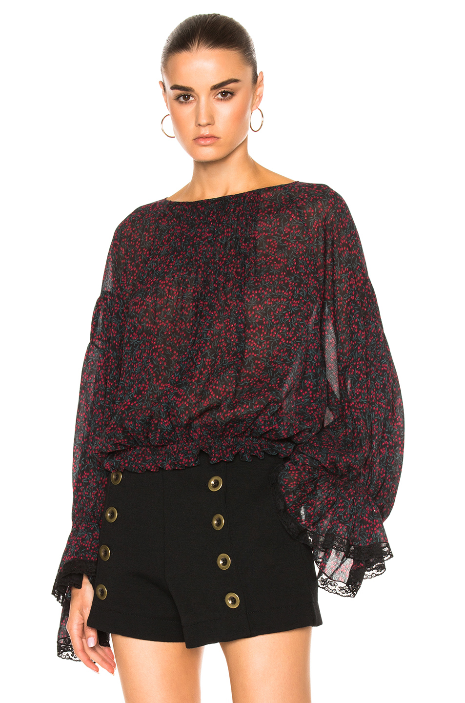 Chloe Cherry Print On Crepon Blouse in Floral,Green,Red