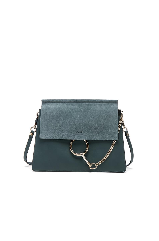 Chloe Medium Faye Suede & Calfskin Bag in Blue