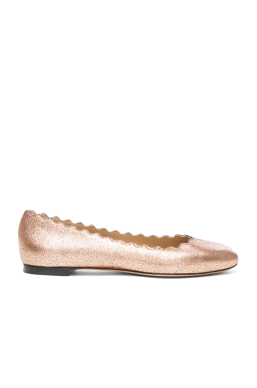 Chloe Lauren Leather Flats in Neutrals,Pink