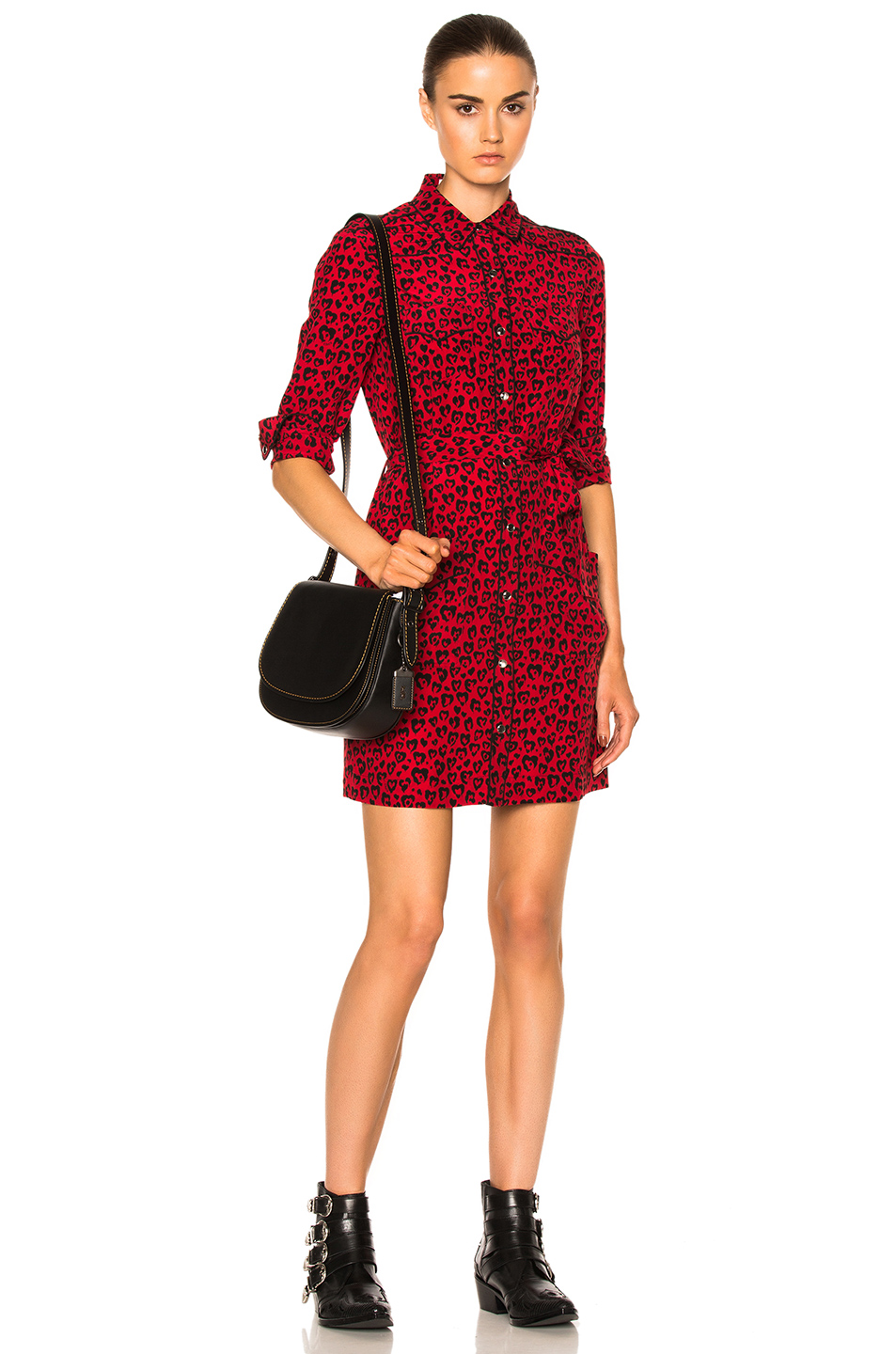 Coach 1941 Piped Shirt Dress in Animal Print,Red