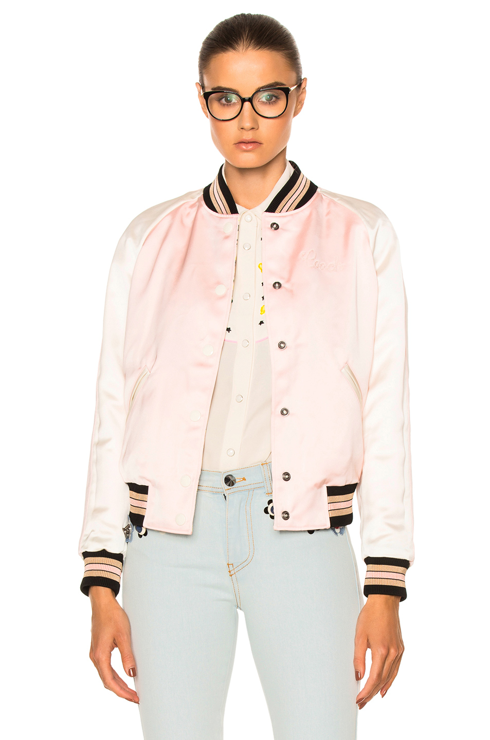 Coach 1941 Reversible Varsity Jacket in Floral,Pink,Stripes,White
