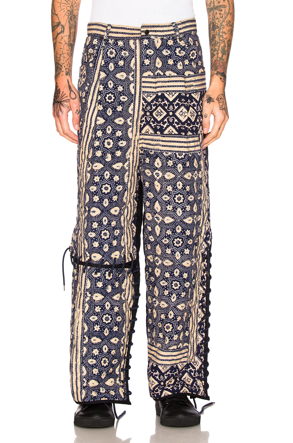 Craig Green Print Diamond Quilt Trousers in Floral,Blue